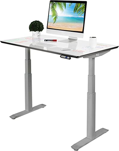 Seville Classics AIRLIFT Pro S3 54″ Whiteboard Top Commercial-Grade Electric Adjustable Standing Desk 51.4″ Max Height Table