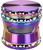Grinder Herb grinder Rainbow 2.5'' 4 Pieces Zinc Alloy Grinder for Herbs and Spices with Clear Windows