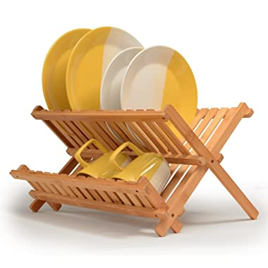Dish Drying Rack Bamboo Dish Rack Collapsible Dish Drainer, Foldable dish drying rack Wooden Plate Rack Made of 100% Natural Bamboo
