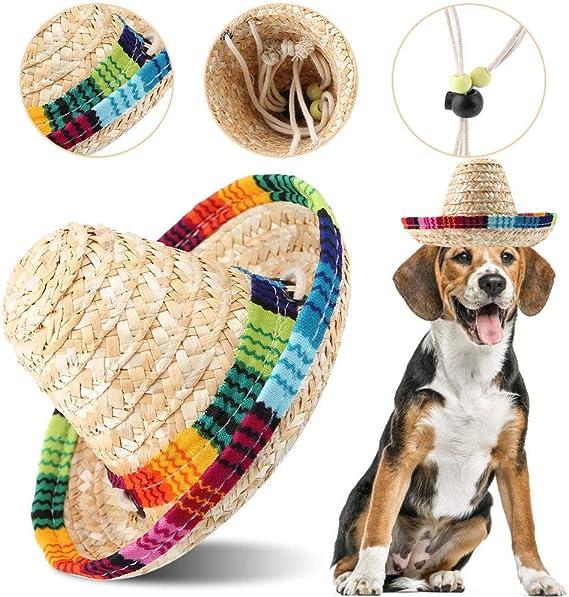 Cappello di paglia per animali domestici, Gatto per cani Mini Paglia Sombrero messicano Paglia intrecciata Cappellino con regolazione della corda in cotone per cani Cucciolo Gatti Gattino Gattino