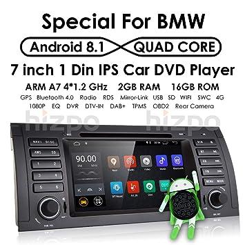 HIZPO - Reproductor de DVD estéreo para coche con radio Dash de 7 pulgadas, Android