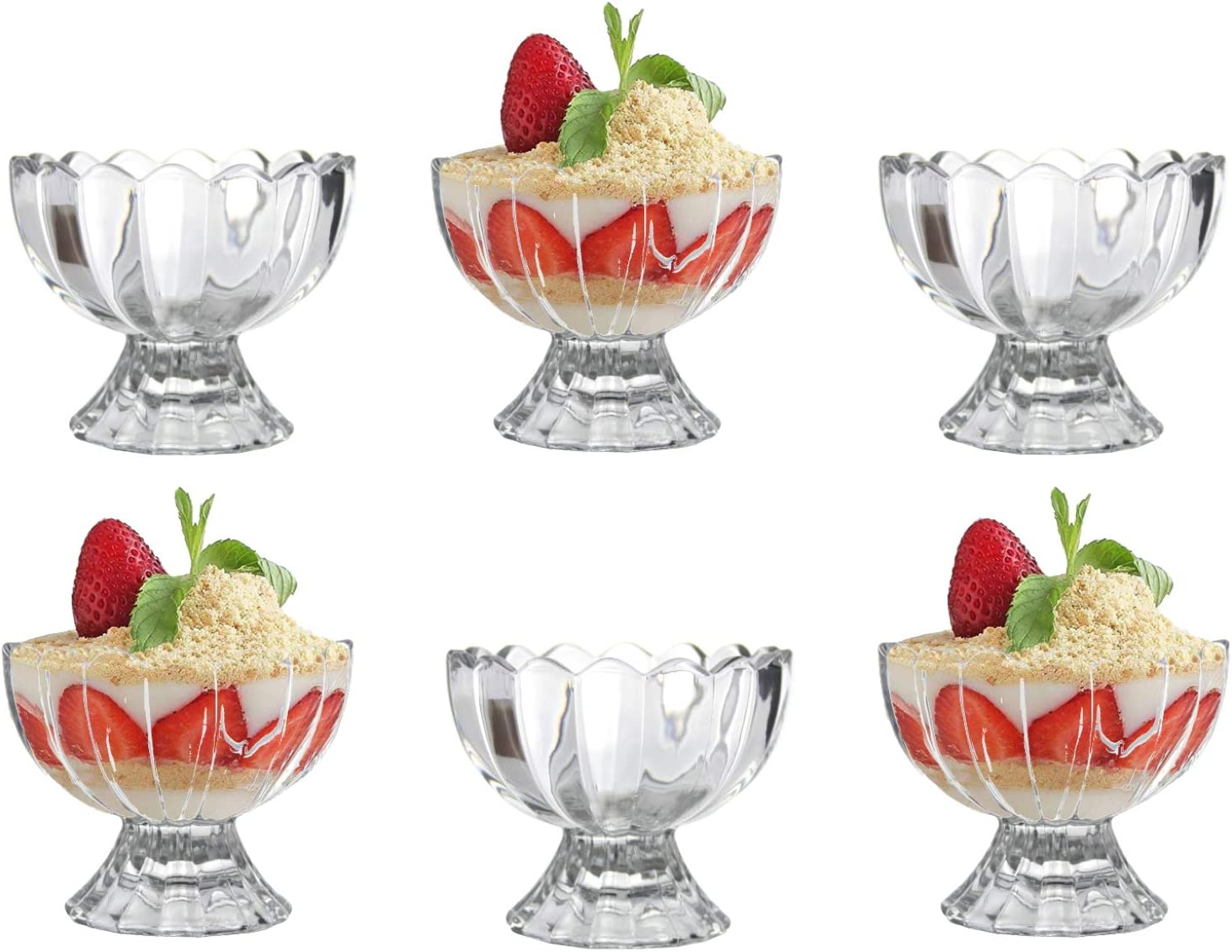 Qing Ping Guo GlassIce Cream Bowls Sundae Dessert Glasses Mini Glass Trifle Bowls Set Of 6 Short Stemmed Ice Cream Serving Dishes Footed Fruit Salad Pudding Dessert Cups