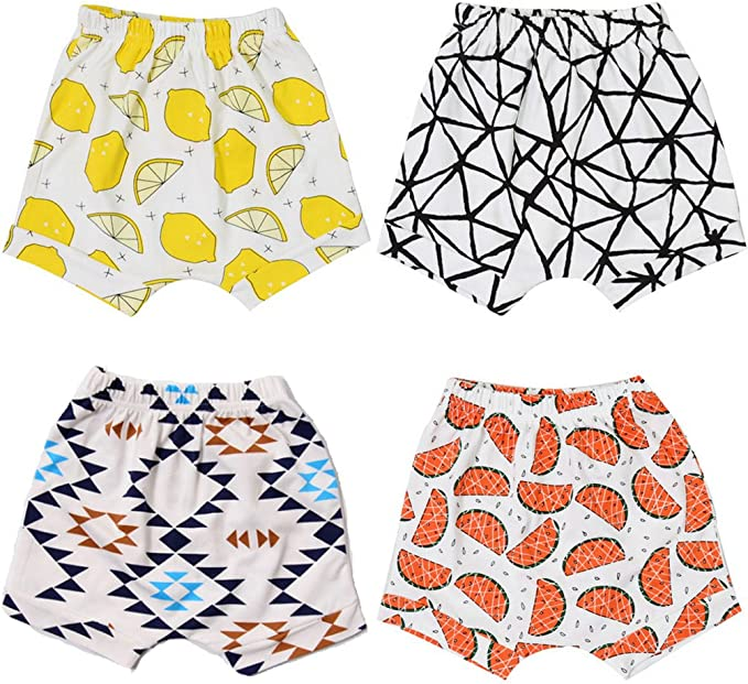 ALABAR Summer Kids Cute Cotton Cartoon Harem Pants Baby Shorts