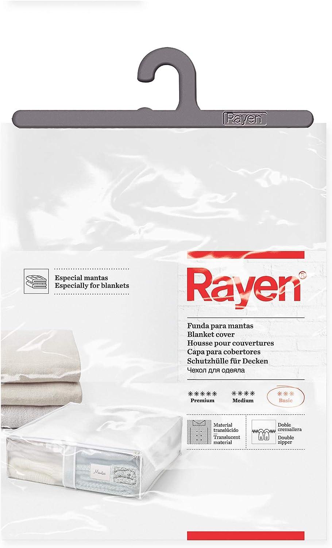 Rayen - Caja de almacenaje de ropa y mantas de cama. Bolsa de PVA para ropa con cremallera, rejilla transpirable, plegable y resistente. 55 x 65 x 20 cm. Translúcido