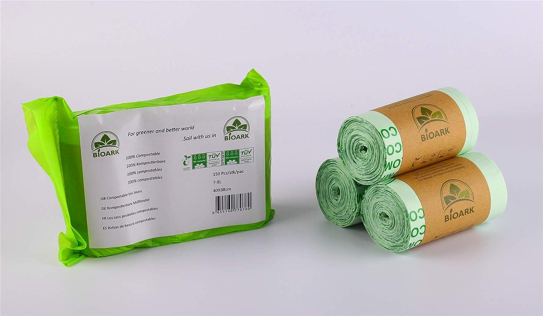 Bolsas de basura biodegradables 100% BIOARK, 7-8 litros, 150 ...