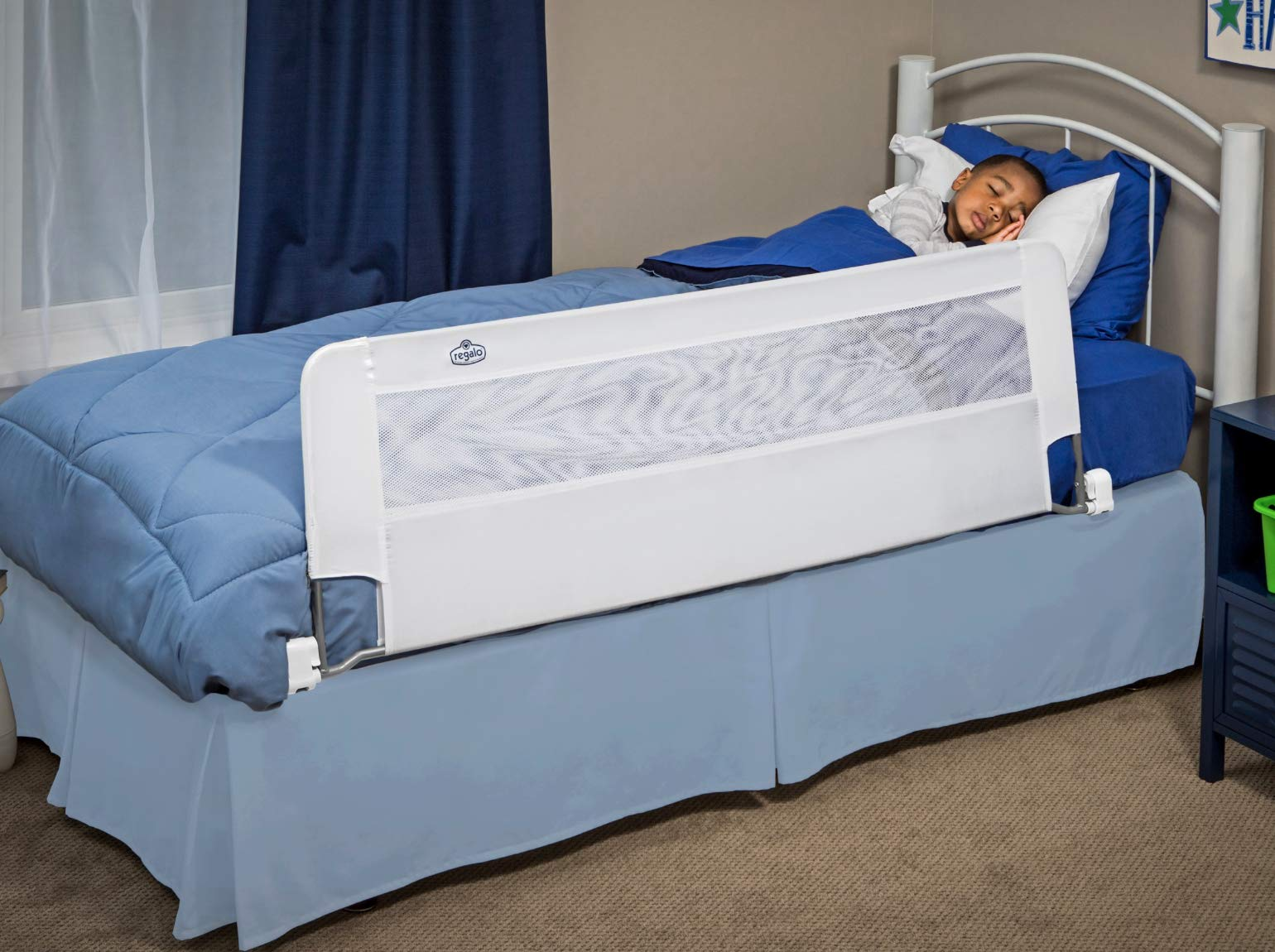 Regalo Swing Down 54-Inch Extra Long Bed Rail Guard, with Reinforced Anchor Safety System by Regalo