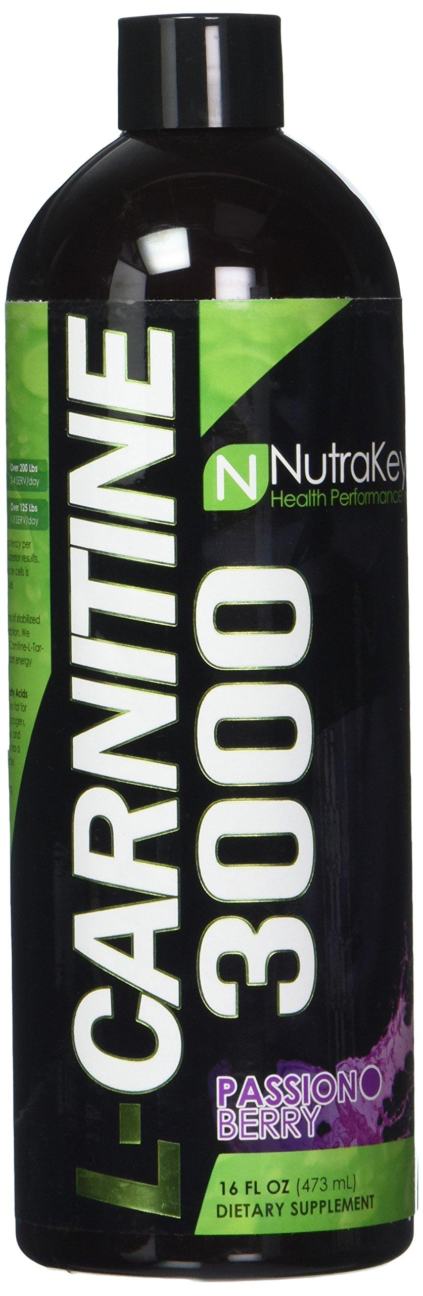 NutraKey L-Carnitine 3000 Liquid Fat Burner, Passion Berry, 31-Servings