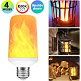 Rinuo LED Flame Effect Light Bulb with 4 Lighting Modes and Upside-down Feature, E26 Standard Base Bulb for Home/Hotel/Bar/Restaurant Decoration