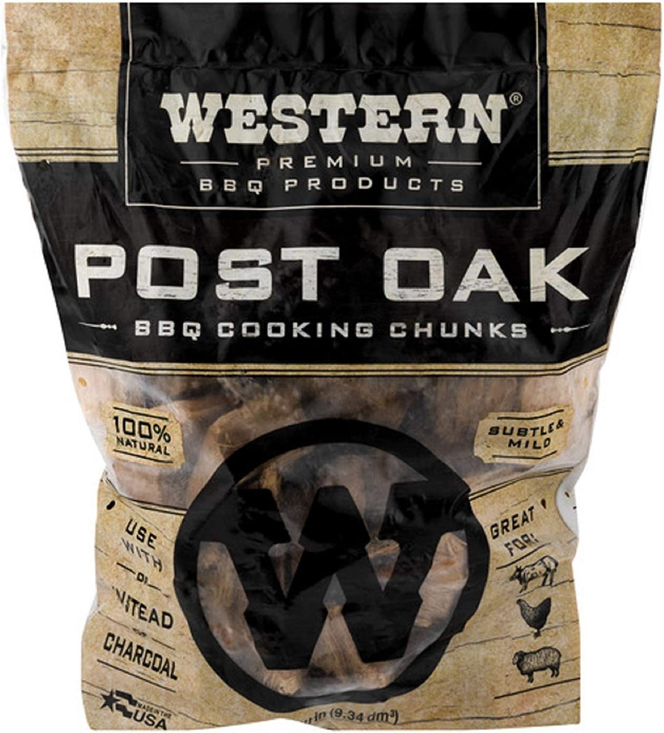 Western Premium BBQ Products Post Oak BBQ Cooking Chunks, 570 cu in : Smoker Chips : Garden & Outdoor