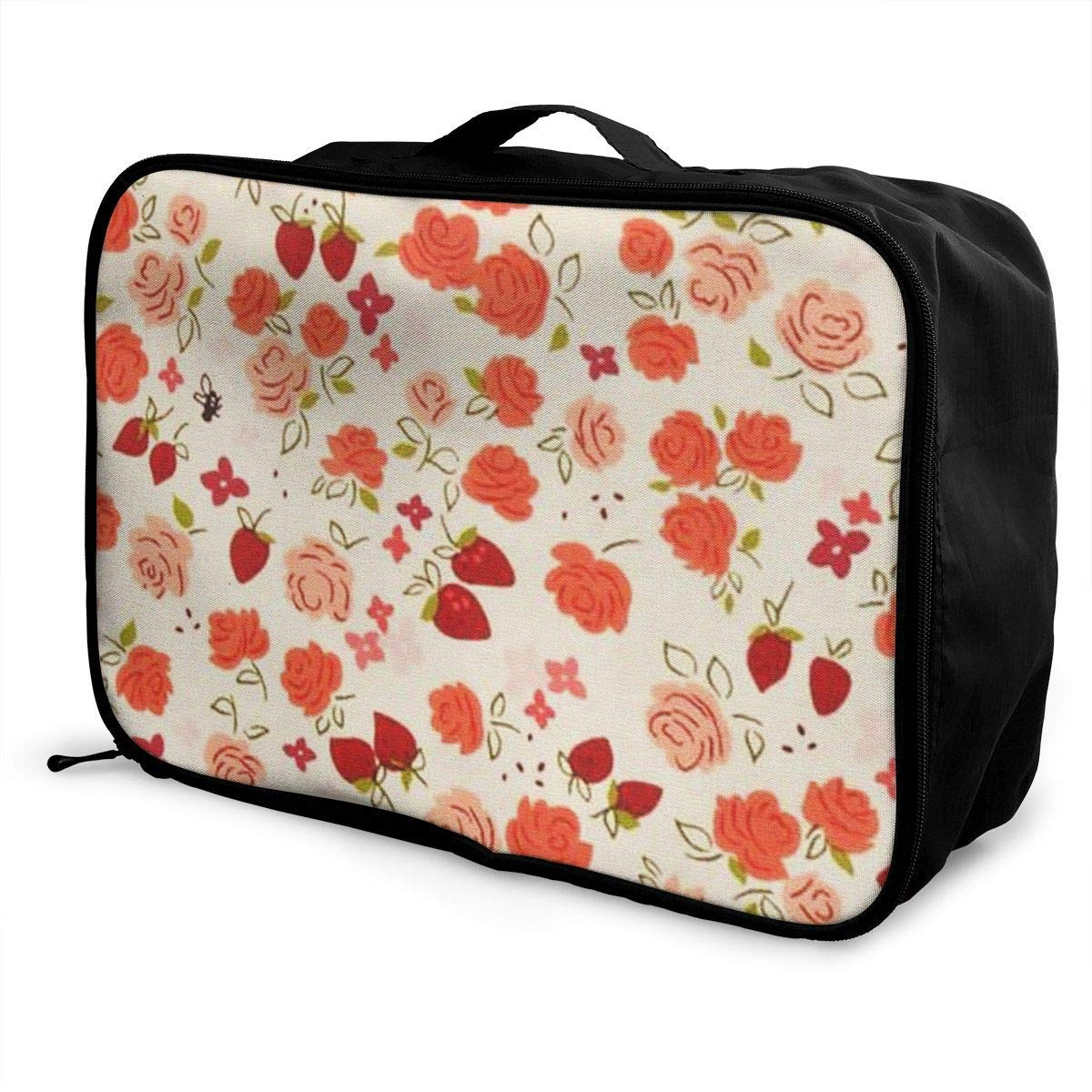 Portable Luggage Duffel Bag Rose Pattern Travel Bags Carry-on In Trolley Handle