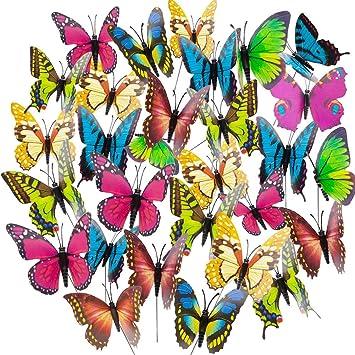 50 mariposas de jardín coloridas mariposas de jardín sobre bastones para césped ornamentos jardín decoración (color aleatorio): Amazon.es: Bricolaje y herramientas
