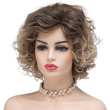 BESTUNG Peluca de pelo corto y rizado para mujer, afro, esponjosa, ondulada,