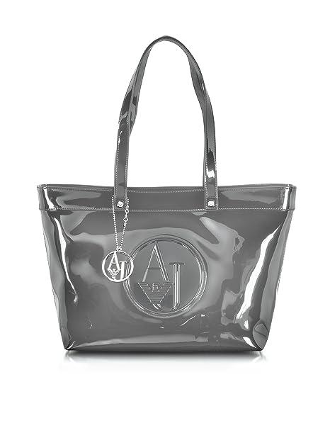 1a41b0a4e7 Armani Jeans Borsa Shopping Donna 922505Cc85000143 Vernice Grigio   Amazon.it  Abbigliamento