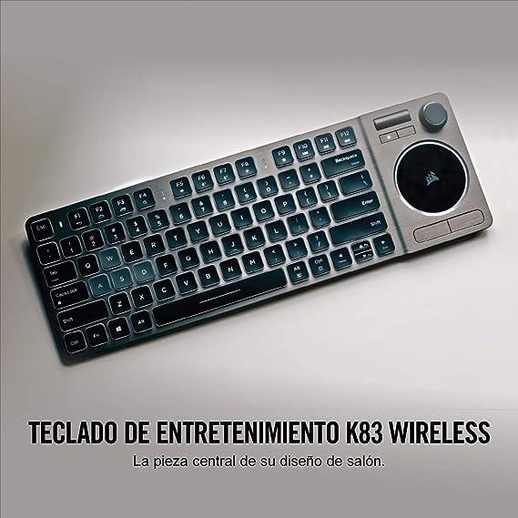 Corsair K83 Wireless - Teclado de Entretenimiento (retroiluminación LED Blanca, diseño Aluminio) Negro - QWERTY Español