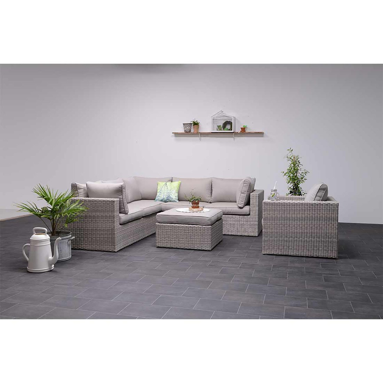 outliv orangebird lounge 5 teilig geflecht shadow grey kissen sand lounge set g nstig kaufen. Black Bedroom Furniture Sets. Home Design Ideas