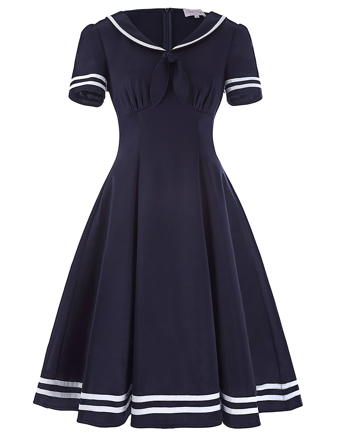 Sailor Dresses, Nautical Theme Dress, WW2 Dresses Belle Poque Womens Retro Sailor Dress Short Sleeve Cocktail Party Swing Dress $29.99 AT vintagedancer.com