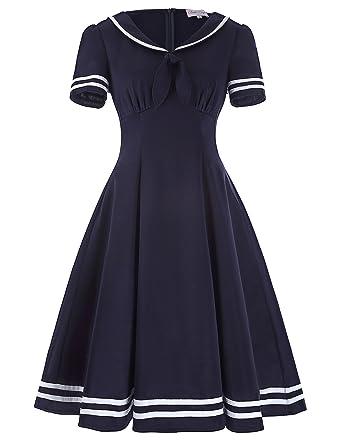 575747f1766077 Belle Poque Ladies Vintage Elegant Swing Cocktail Party Dress S BP266-1 Navy  Blue