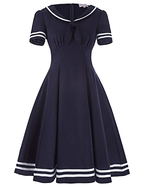 1940s Style Dresses and Clothing Belle Poque Womens Retro Short Sleeve Lapel Collar Sailor Swing Dress BP266 $25.99 AT vintagedancer.com