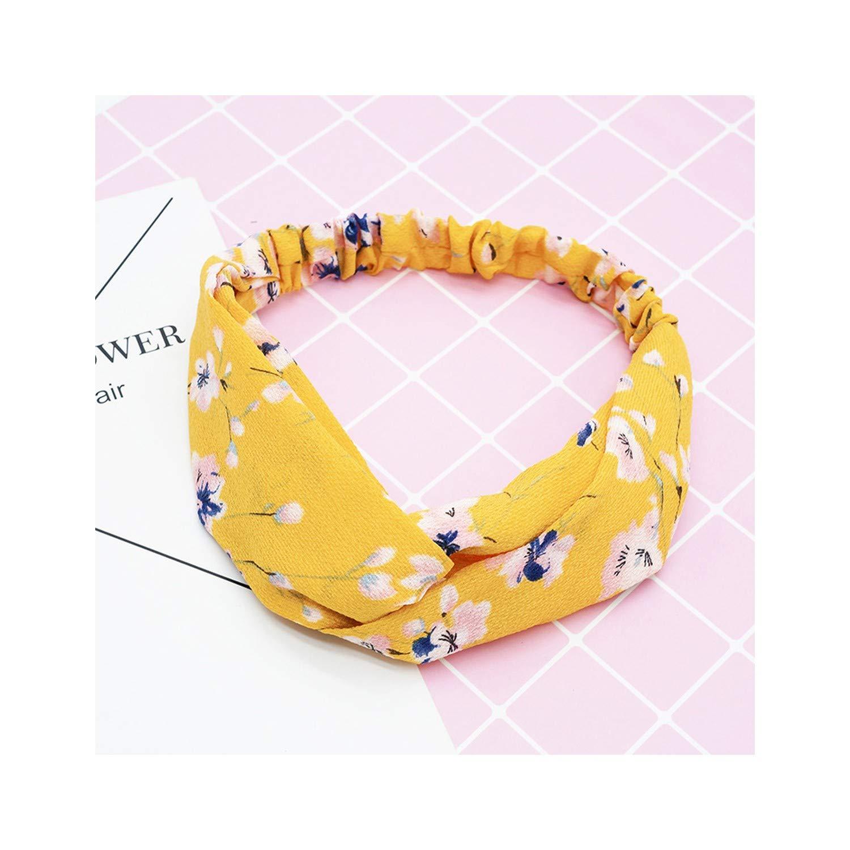 New Women Cross Knot Floral Turban Headbands Elastic Scrunchie Girls Chiffon Headwrap,1pcs Random color
