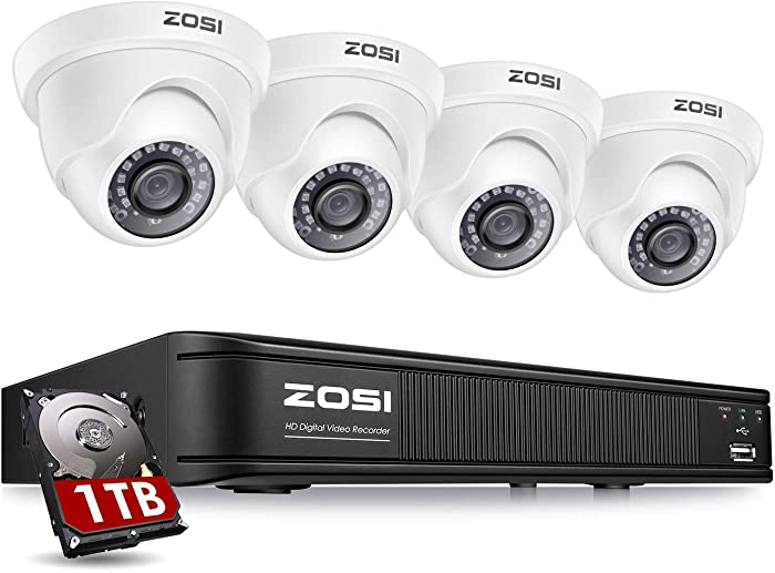 ZOSI H.265+ 1080P Video Surveillance Camera System 8 Channel, Security DVR Recorder (1TB HDD Installed) and 4 x 1080P Weatherproof CCTV Dome Camera Outdoor/Indoor with Day Night Vision