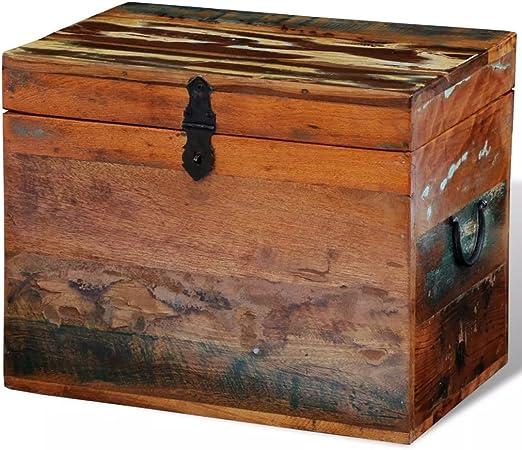 vidaXL Caja de Almacenaje Madera Reciclada Marrón Baul Cofre Almacenamiento: Amazon.es: Hogar
