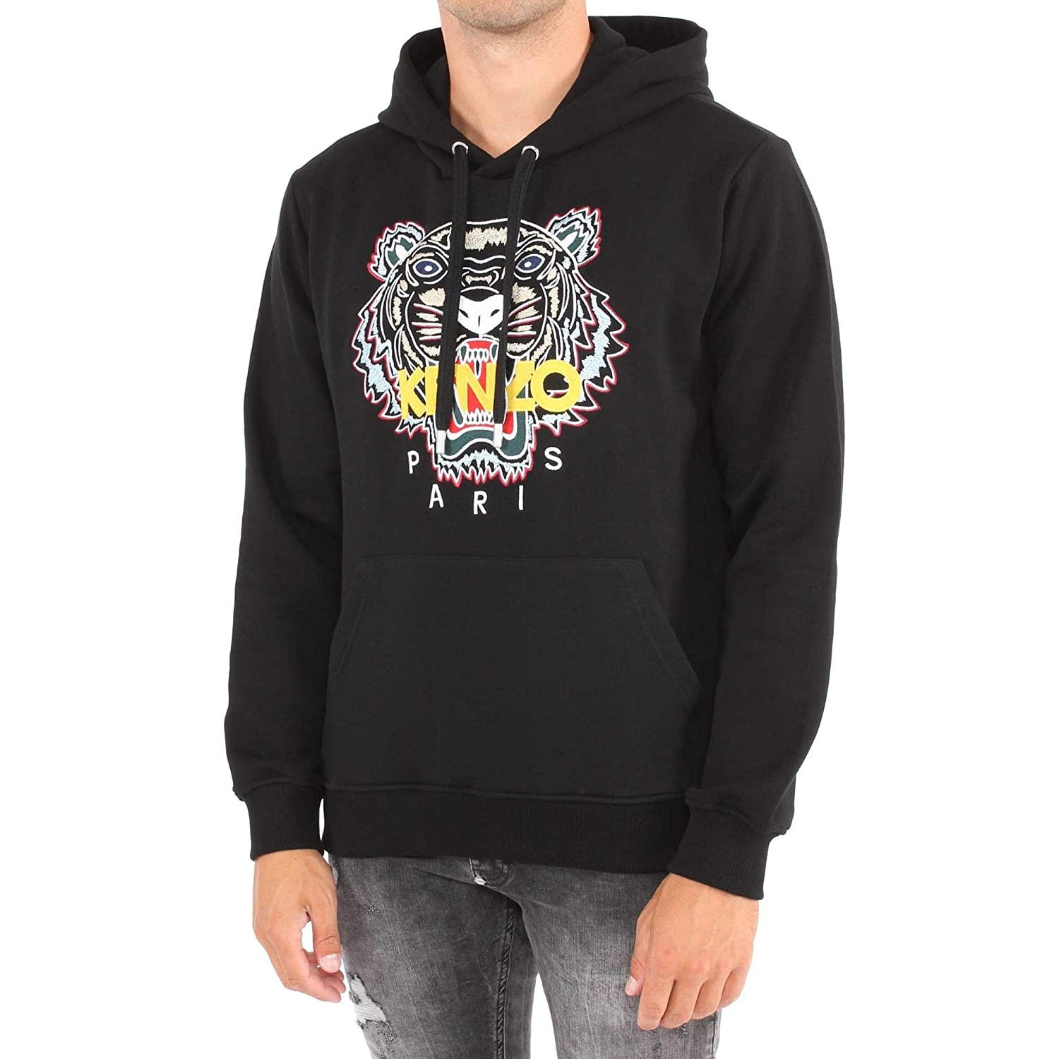 0182a2196 Kenzo Mens Chinese Tiger Hoodie, Black Logo Sweat XXL Black: Amazon.co.uk:  Clothing