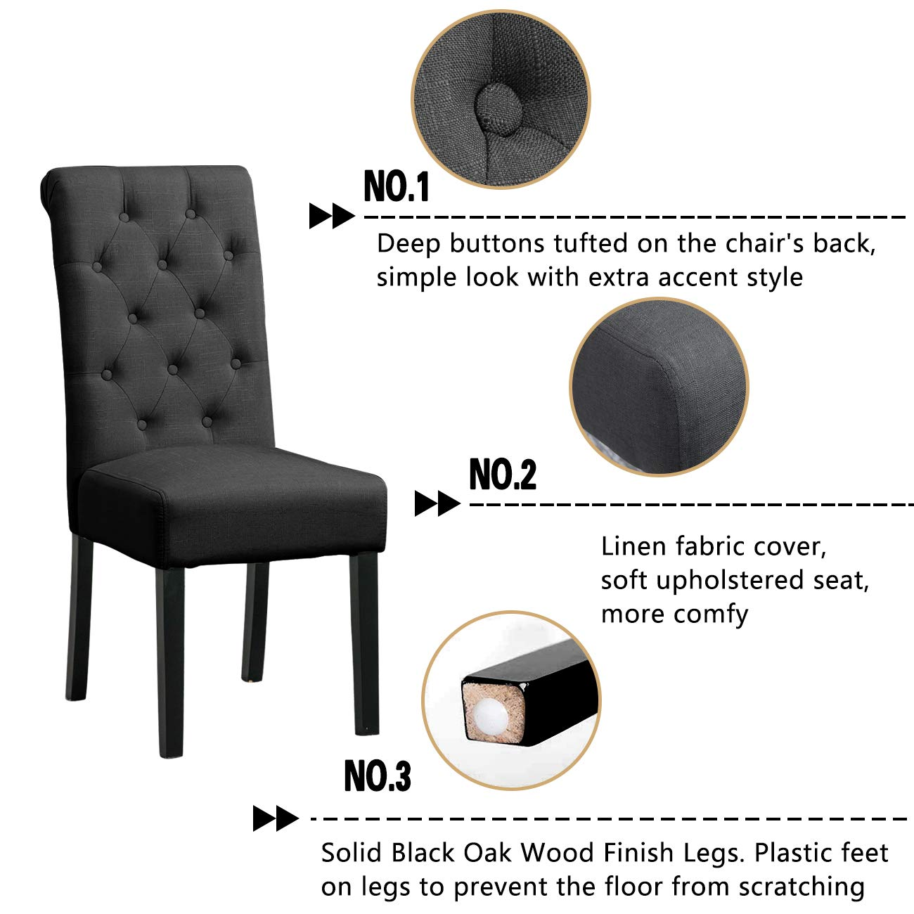 HomeSailing Pair Taupe Dining Chair for Kitchen Restaurant Black Wood Leg Chairs with Comfy Fabric Upholstered Seat with Button High Back Chairs Set of 2