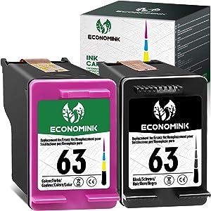 Economink Remanufactured Ink Cartridges Replacement for HP 63 Black Color Combo Pack for HP OfficeJet 3830 5255 5258 4650 4655 4652 Envy 4520 4512 4511 4510 DeskJet 1111 1112 2130 2131 3630 Printer