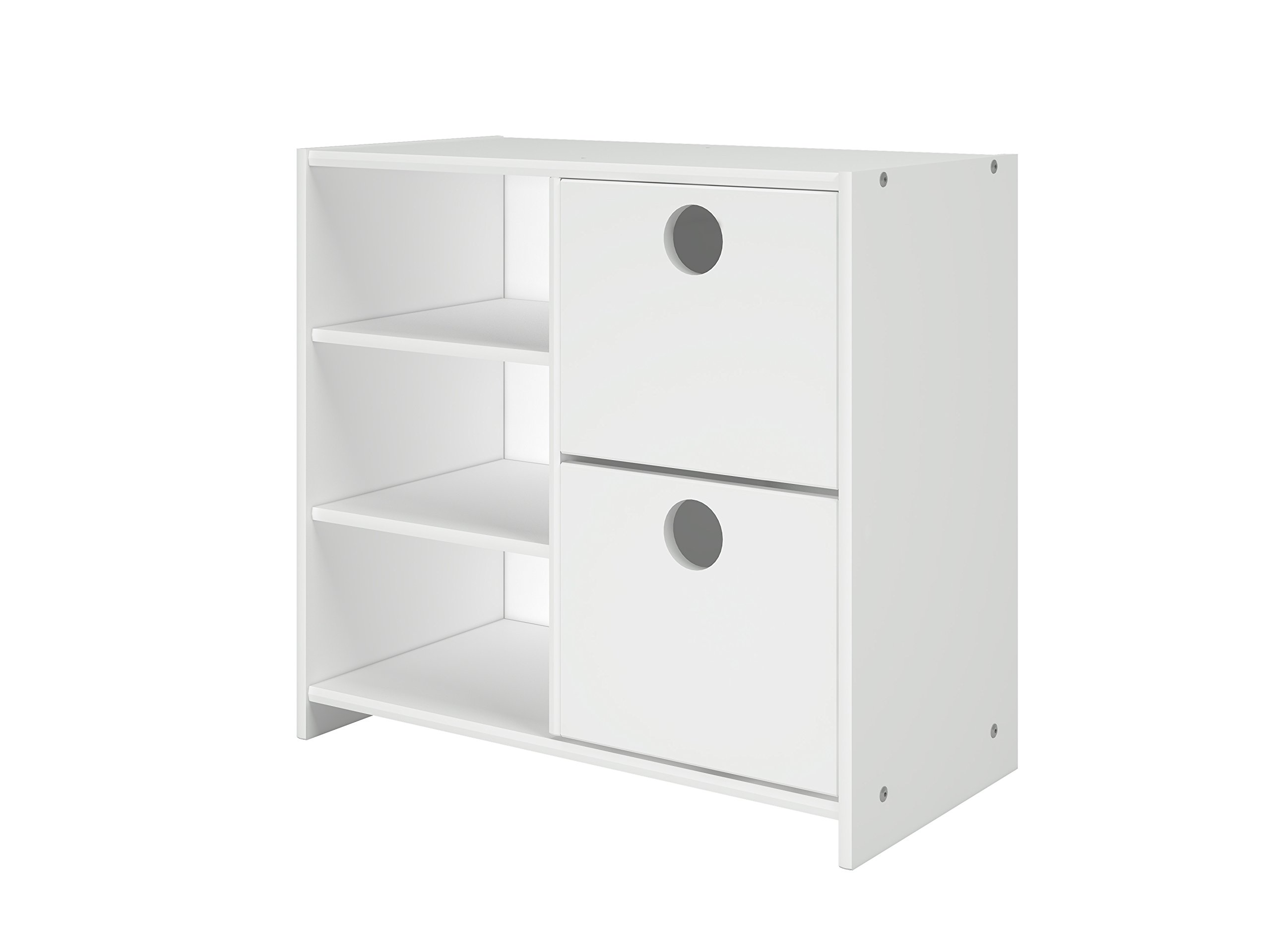 DONCO KIDS Circles Low Loft 2 Drawer chest with Shelves in White finish