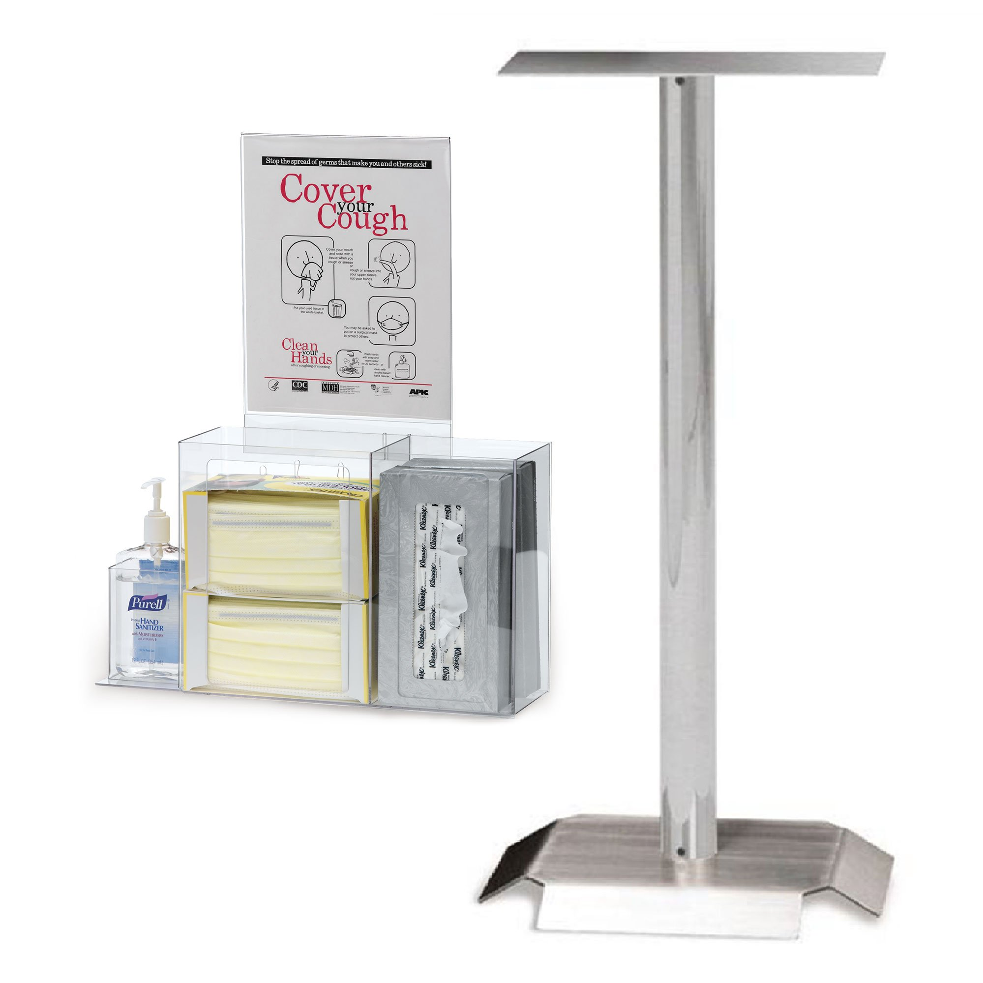 Respiratory Hygiene Station Bundle with Kiosk Stand and Accessories (5 items)