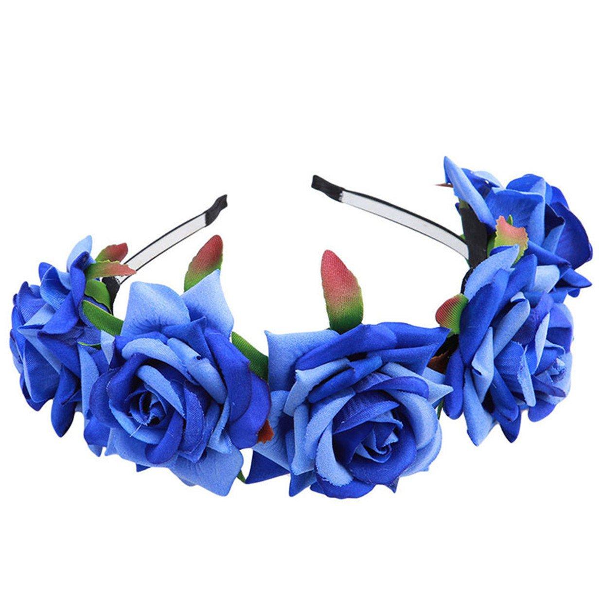 EJY Femmes Fille Fleur Serre Tête Accessoire Bandeau Cheveux Mariage Cérémonie Plage Voyage Couronne de Fleur Tête Garland 88_Store