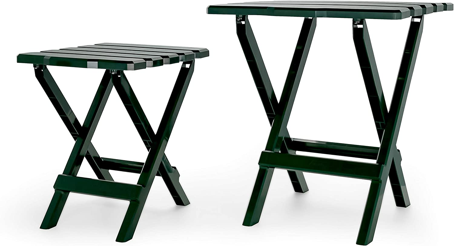 Picnics Cookouts and More-Weatherproof and Rust Resistant-Green Camco Adirondack Portable Outdoor Folding Side Table-Perfect for The Beach 21031 Camping