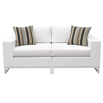 TK Classics MIAMI-02a-WHITE Elegant Miami 2 Piece Outdoor Wicker Patio Furniture (Set of 2), Sail White