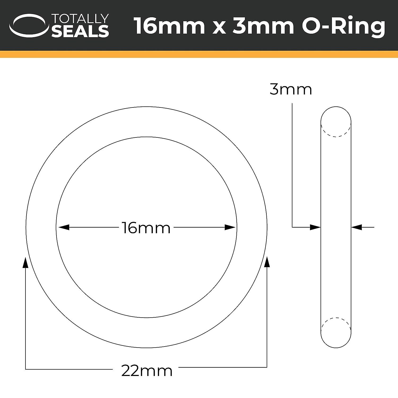 10 Rojo. 16 mm x 3 mm silicona VMQ juntas t/óricas 55 A dureza de la orilla 22 mm OD
