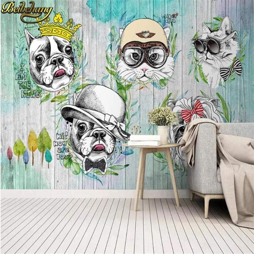 WANGZZZ Papel Tapiz Mural 3D Animal Gato Perro cartoon3D Pintura ...