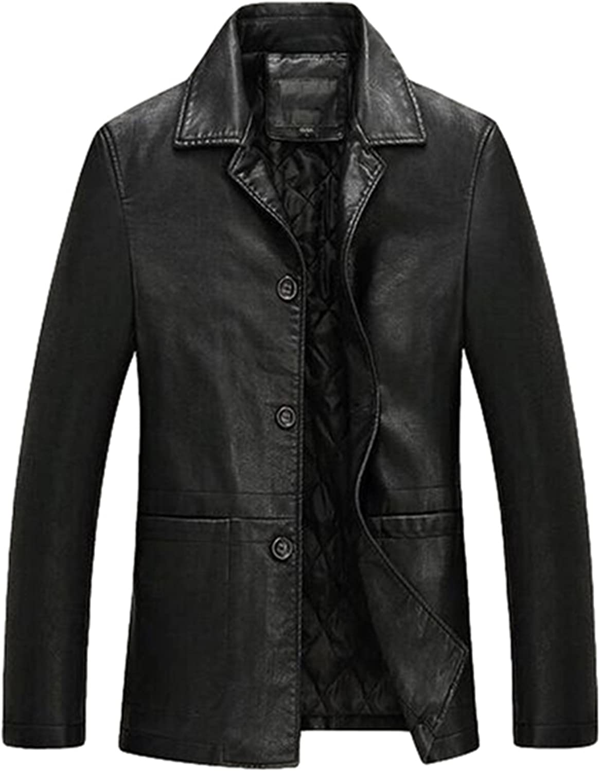 LOVE TIME Men Business Casual Leather Jacket Buttons Revers Trench Coat Leather Outwear