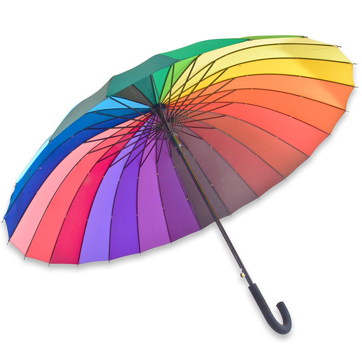 Large Canopy Deluxe Automatic Opening 24 Rib Rainbow Umbrella Strong And Windproof Ultra Durable
