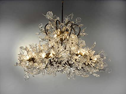 Chandeliers Large Chandeliers Transparent Flowers And Leaves - Large-dining-room-light-fixtures