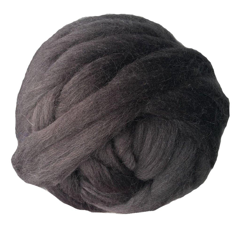 Merino Wool Chunky Yarn Giant Thick Bulky Roving Spinning for Arm Knitting Blanket, 6cm Thick, 55 yards, 2.2Lb (Dark Grey)