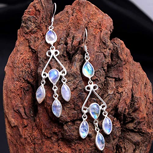 Rainbow Moonstone gemstone dangle earrings