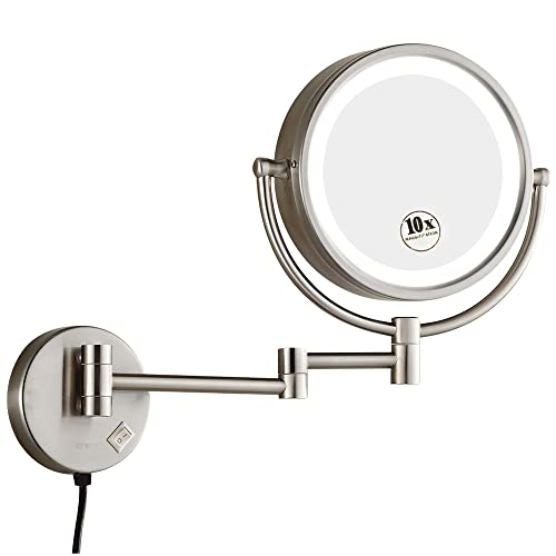GURUN 8.5 Inch Magnifying Mirror With Led Light Wall Mount,10x Magnification, Brushed Nickel Finish M1809DN 8.5in,10x