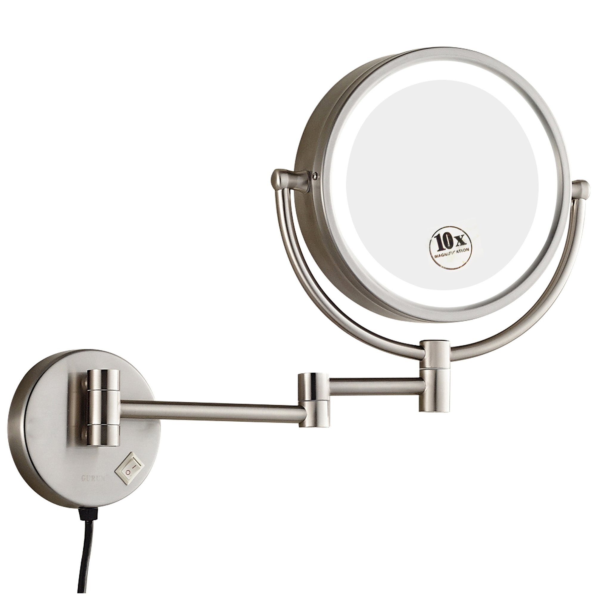 GURUN 8.5 Inch Magnifying Mirror With Led Light,10x Magnification, Brushed Nickel Finish M1809DN(8.5in,10x)