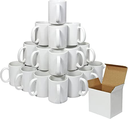 PixMax - 36 Tazas 325ml Recubiertas de Polímero Blanco para Sublimación con Cajas