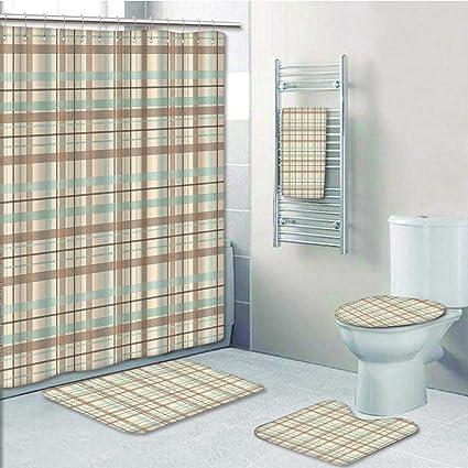5 Piece Bathroom Set Includes Shower Curtain LinerMotif Scottish Dated Folk Design