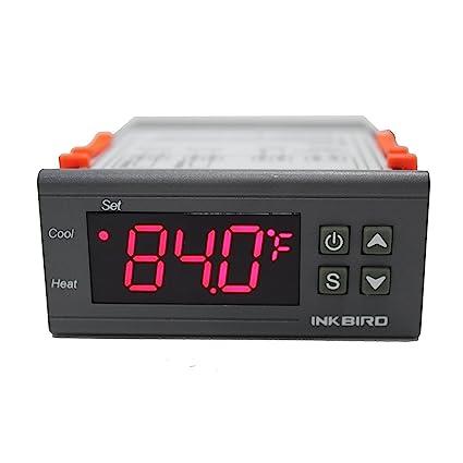 Inkbird ITC-1000 Termostato Digital Calefaccion y Refrigeración con Sonda 12v, Display LCD y 2 Relés Control de Temperatura para Incubadora Terrario, ...