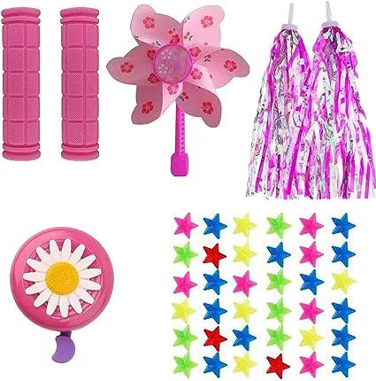 Kids Bike Decoration Girls Bicycle Handlebar Grip Cover Tassels Streamers Pink