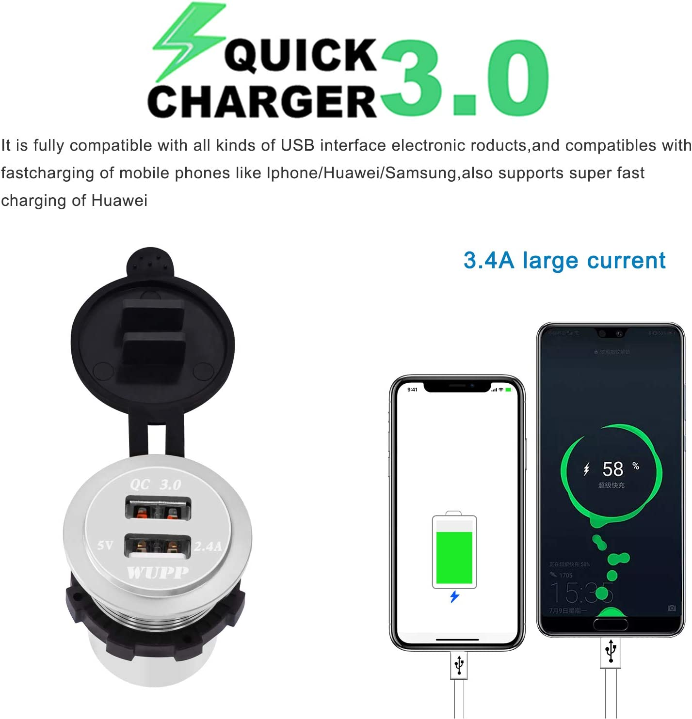 BlueFire Upgraded Aluminum Alloy Fast Charging 3.0 USB Charger Socket IP66 Waterproof Dual USB Power Outlet with QC 3.0 USB Port /& 5V 2.4A Port Led Light for Car Boat Marine Rv Motorcycle Silver