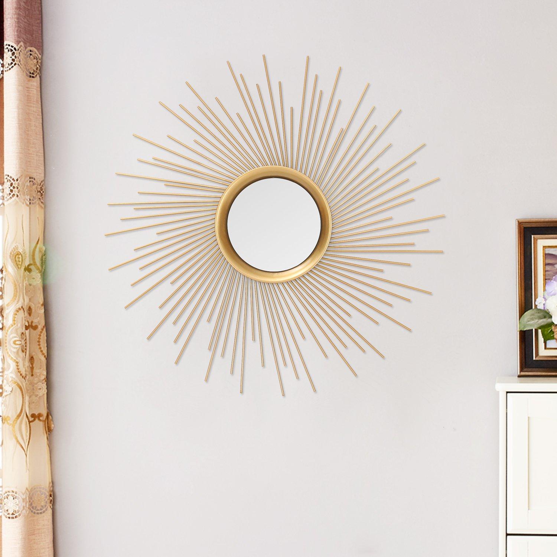 Asense Home Collection Sunburst Mirror, Classic Metal Decorative Wall Mirror Sunburst