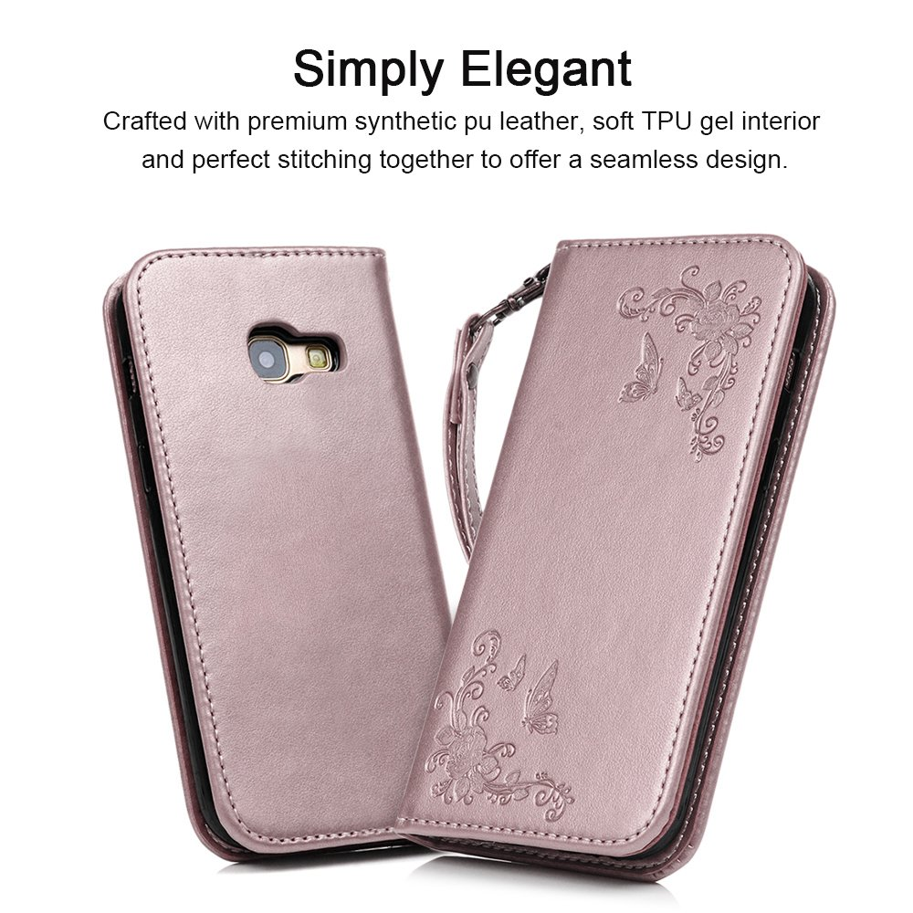 A5 2017 Case - MAXFE.CO for Samsung A5 2017 Case Embossed Butterfly Rose Gold PU Leather Flip Stand Cover Case for Samsung Galaxy A5 2017 (5.2 Inch) with Dual Layer Hand Strap Card Holder [Magnetic Closure] - Rosy Gold