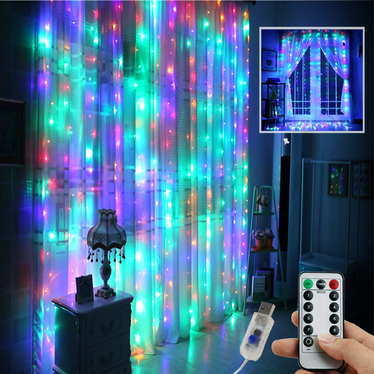 Juhefa Window Curtain Lights 300 LED USB Powered Fairy String Lights with Remote, IP64 Waterproof & 8 Settings Twinkle Lights for Bedroom Parties,Weddings,Wall Decorations (9.8x9.8Ft Multi-Color)